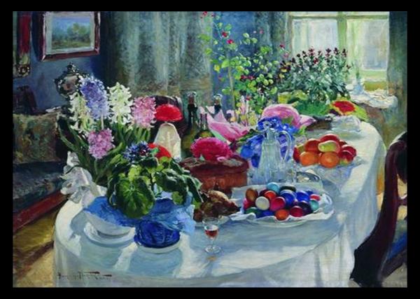 Пасхальный стол. Художник А.В. Маковский, 1915-1916 гг.