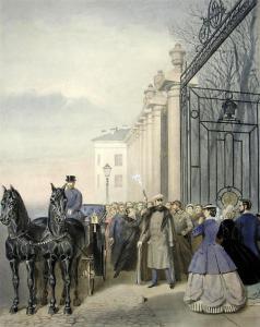 Покушение Д.В. Каракозова на Александра II 4 апреля 1866 у Летнего сада в Петербурге, художник Василий Гринер, 1866 год
